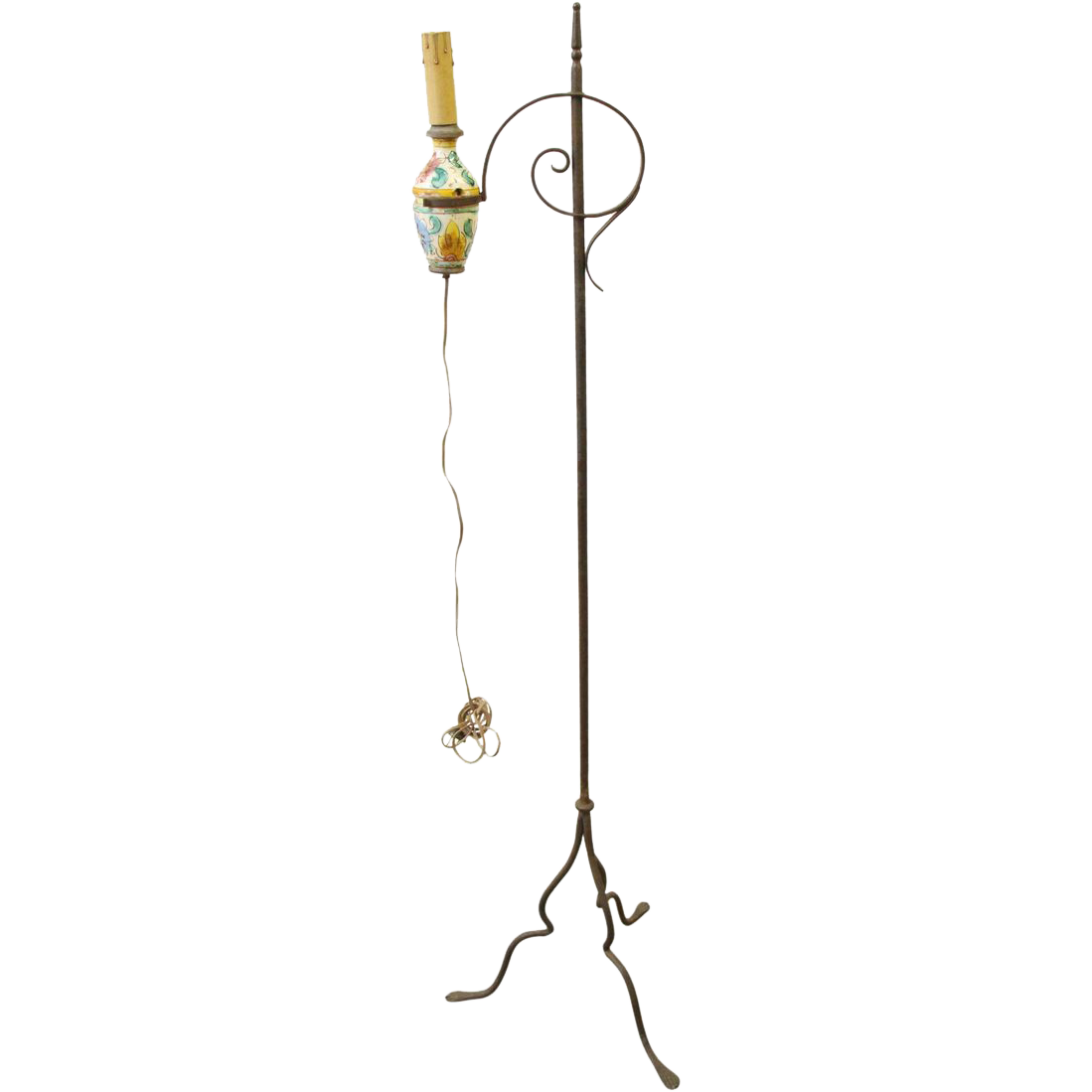 Iron floor lamp with floral ceramic detail