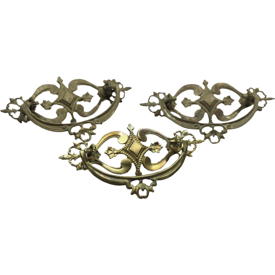 Set of ornate brass drawer pulls