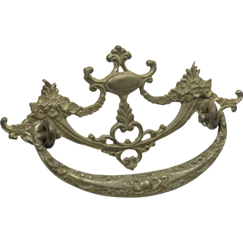 Brass Victorian drawer pulls trio