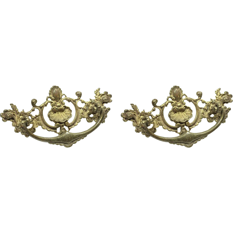 Pair of ornate brass Victorian drawer pulls