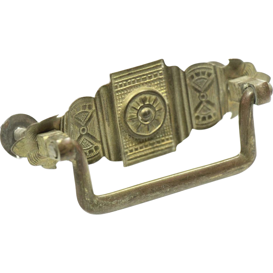 Pressed brass Art Deco drawer pulls