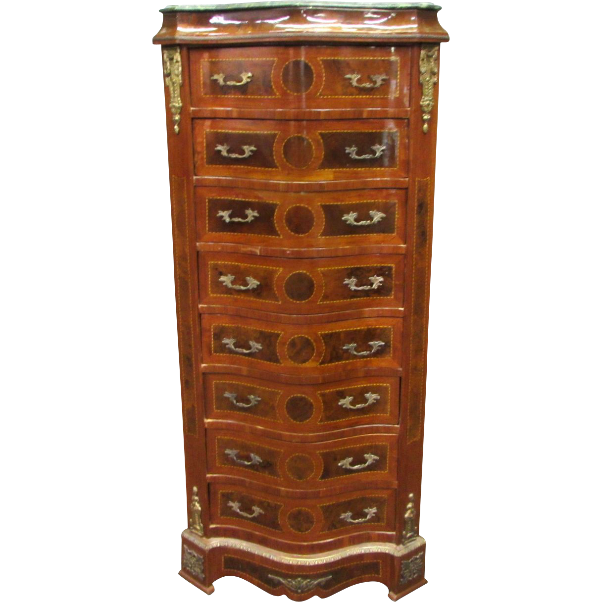 Large ornate cabinet with marble top