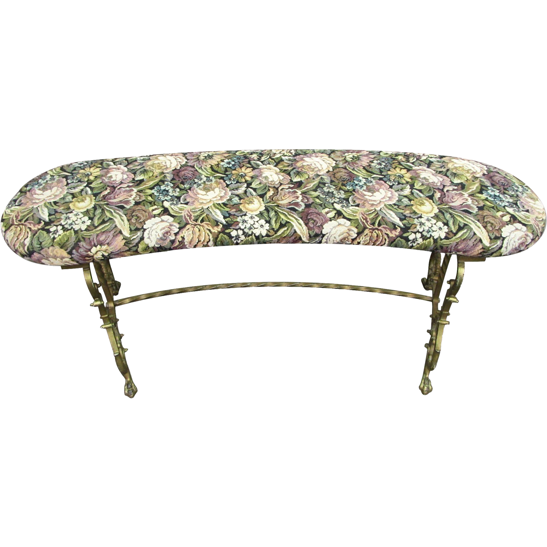 Small floral vanity bench with iron base