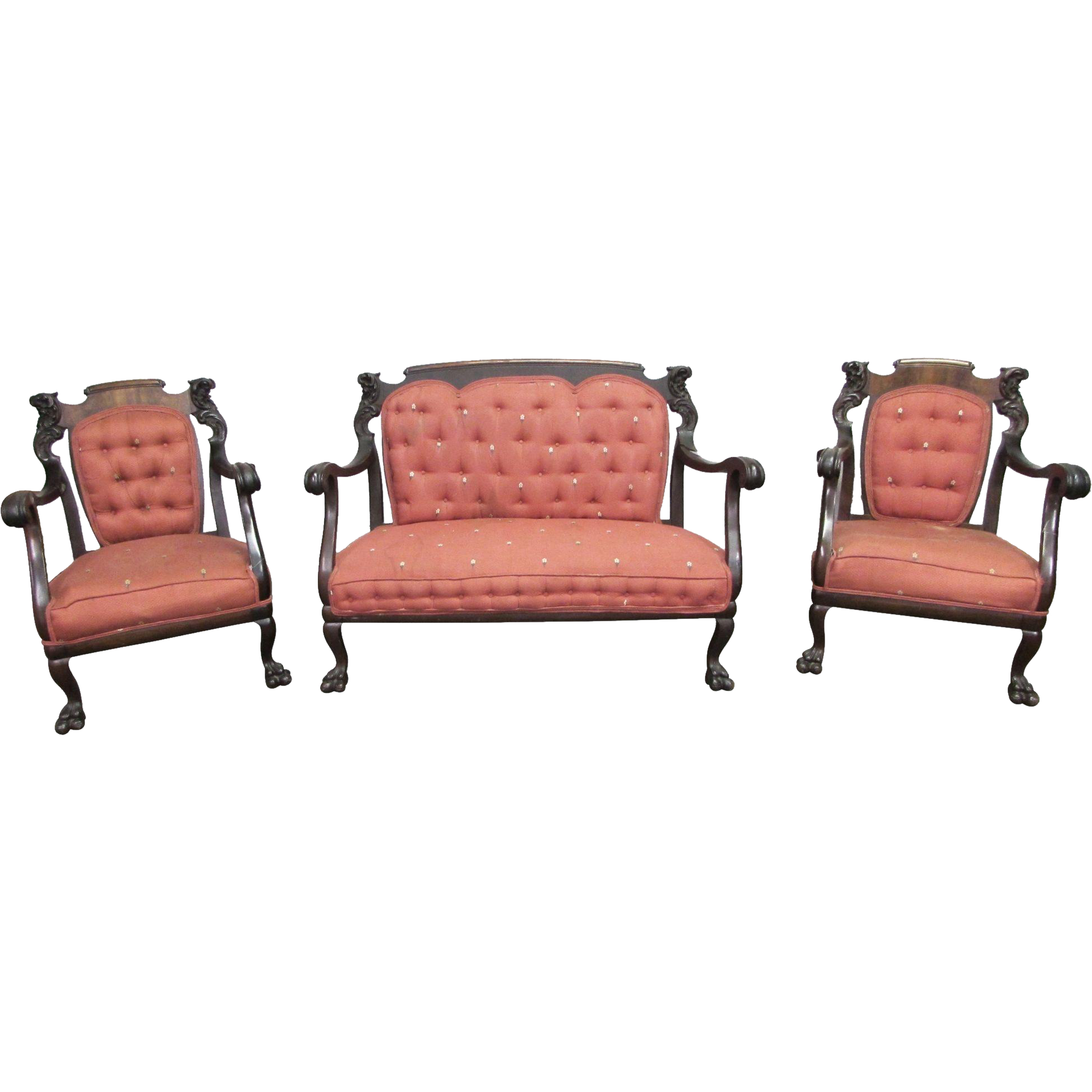 Vintage red mahogany furniture set