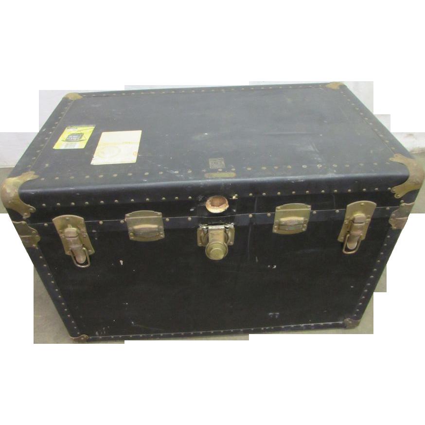 Steamer trunk with original brass hardware