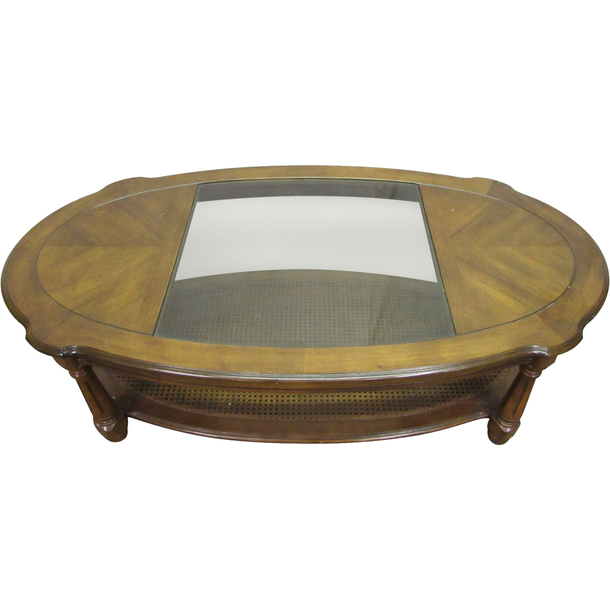 Oval Oak Coffee Table With Glass Center From Oldegoodthings On Ruby Lane