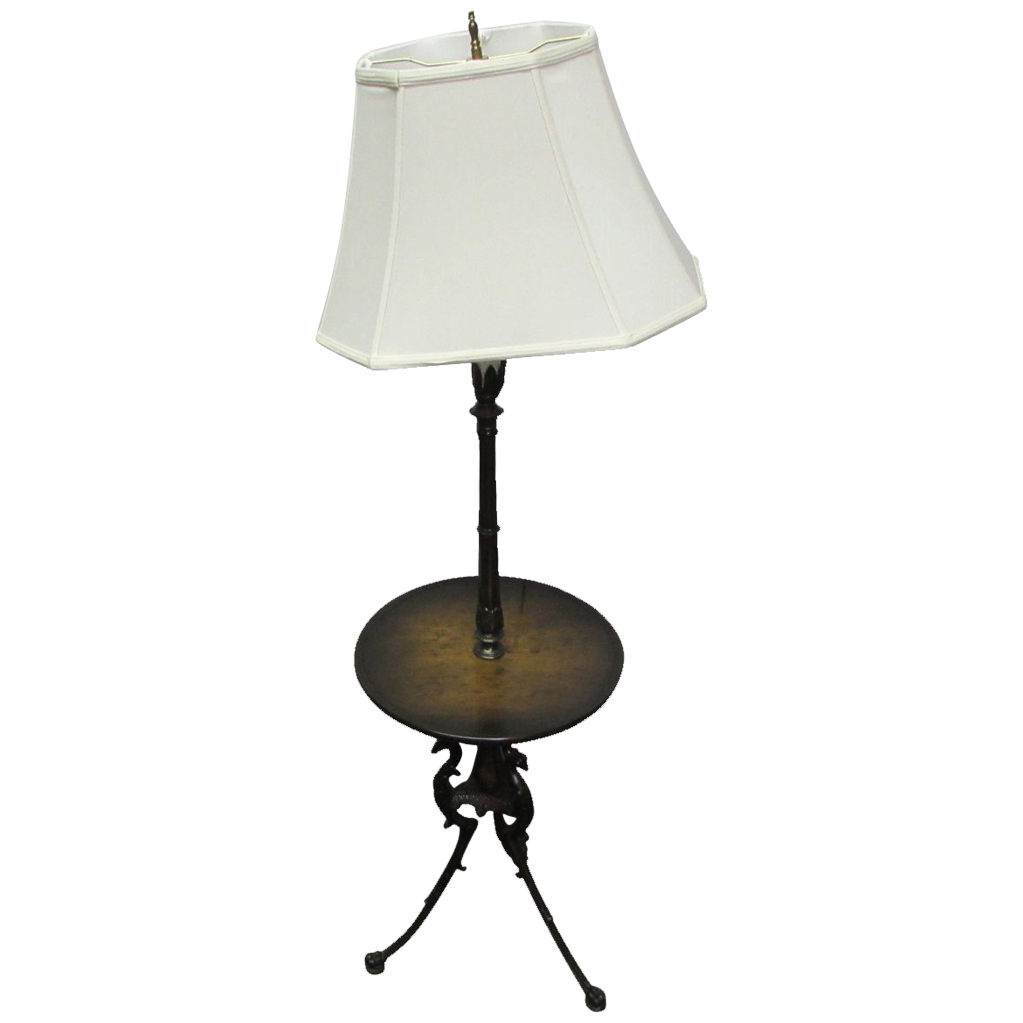 Solid wooden table floor lamp