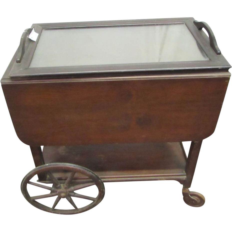 Walnut serving cart
