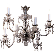 Six arm chandelier with crystals