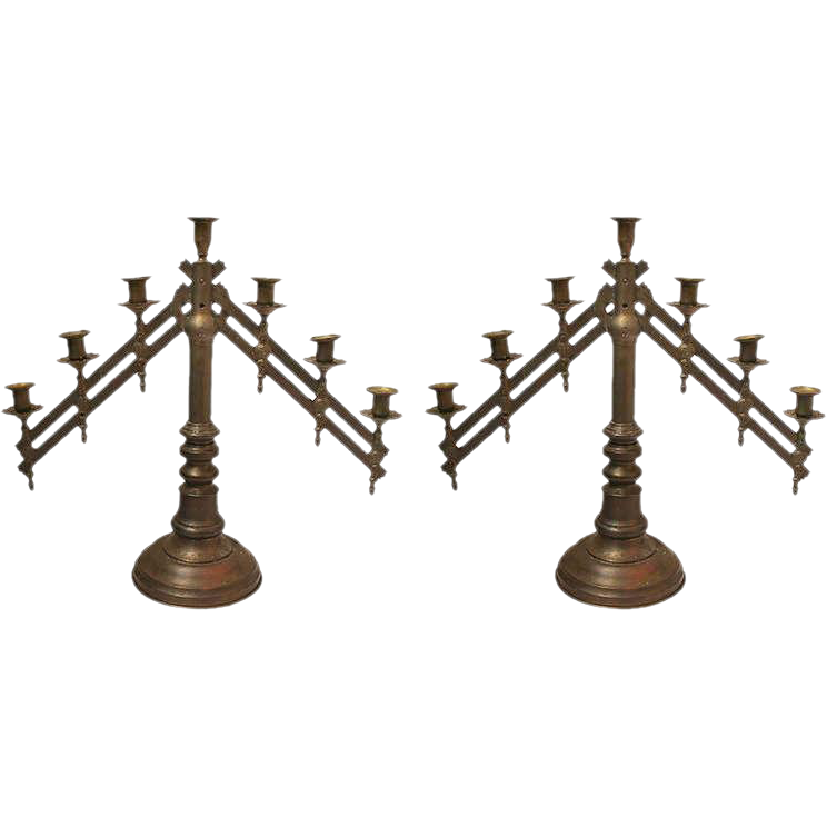 Pair of 19th Century bronze Ecclesiastical Benediction candelabras