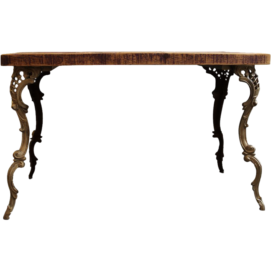 Wooden Top Table With Art Nouveau Legs