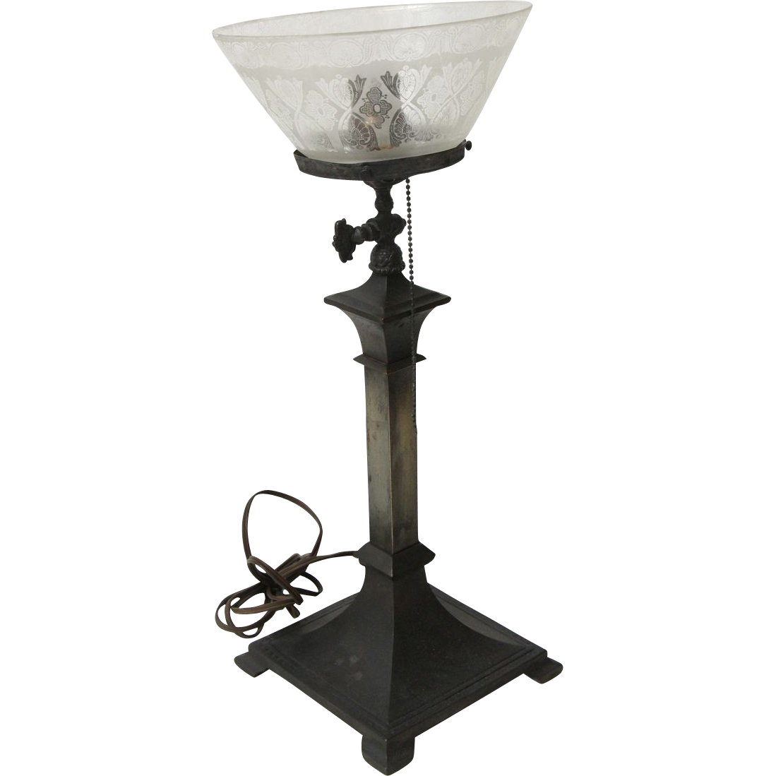 19th Century electrified gas lamp base with etched glass shade