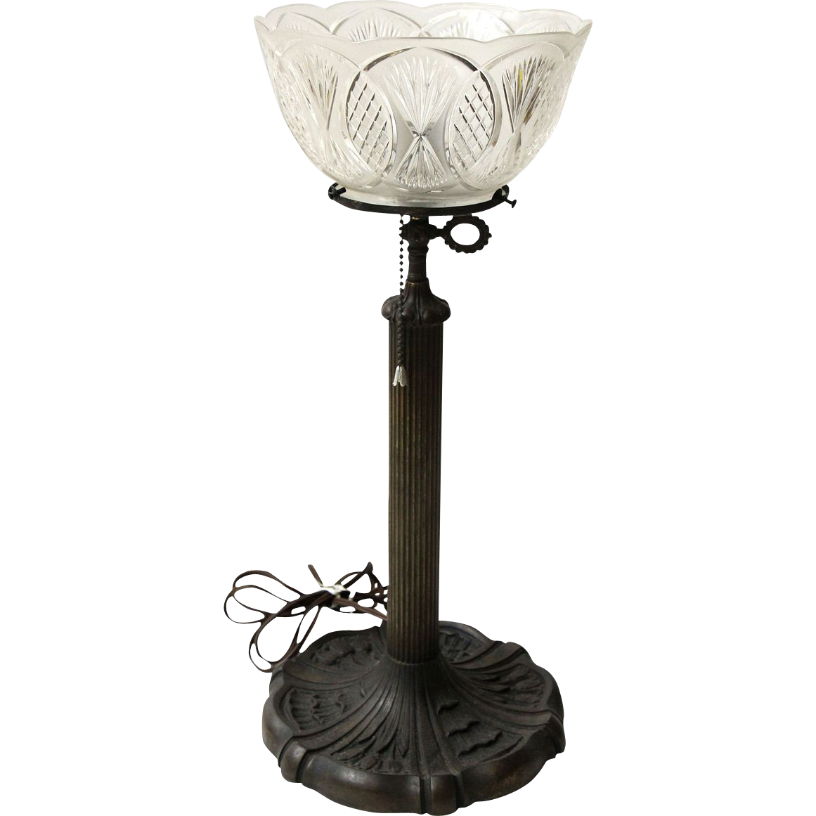 Electrified original 19th century gas bronze table lamp