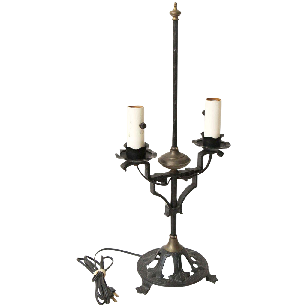 Tudor wrought iron table lamp