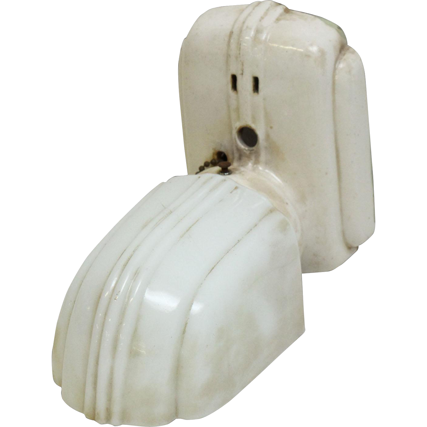 White Deco bathroom sconce