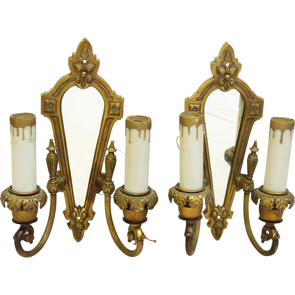 1920's Gold colored mirrored bronze sconces