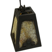Arts iron Crafts iron lantern with textured glass