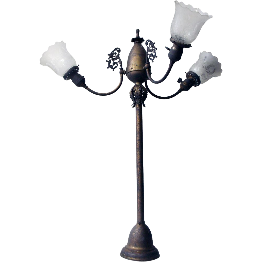 19th Century gas light fixture with etched glass shades