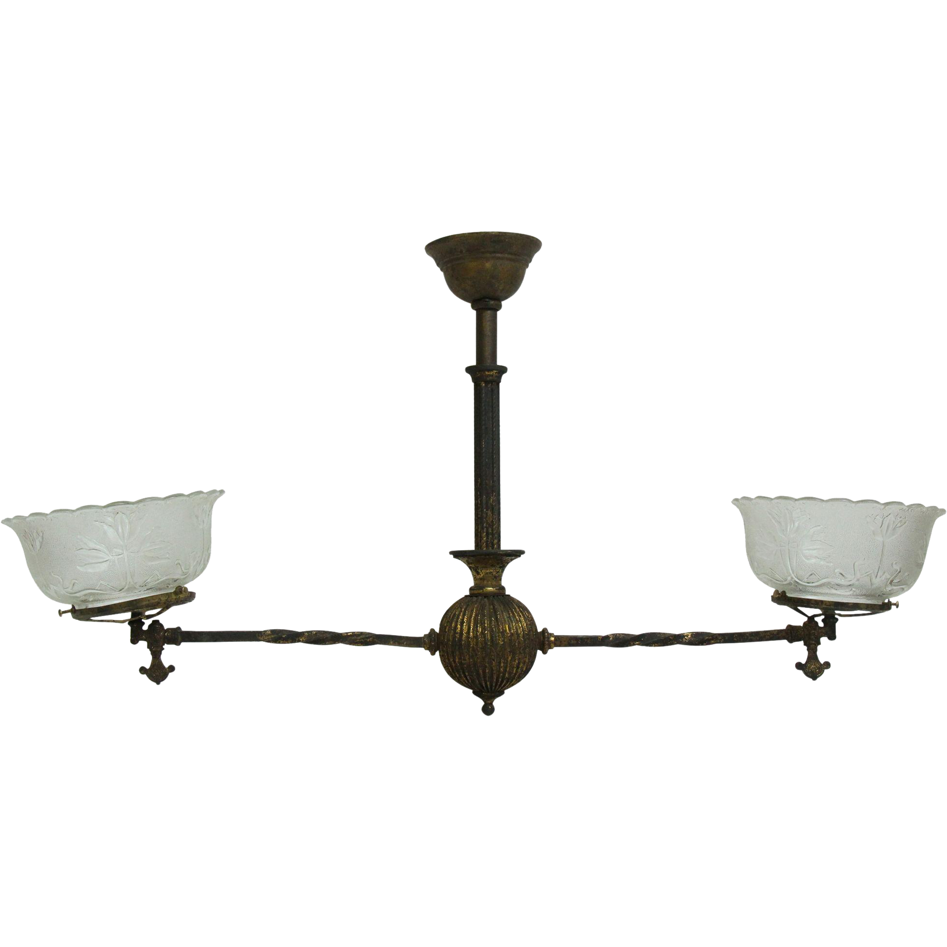 19th Century gas fixture with glass shades