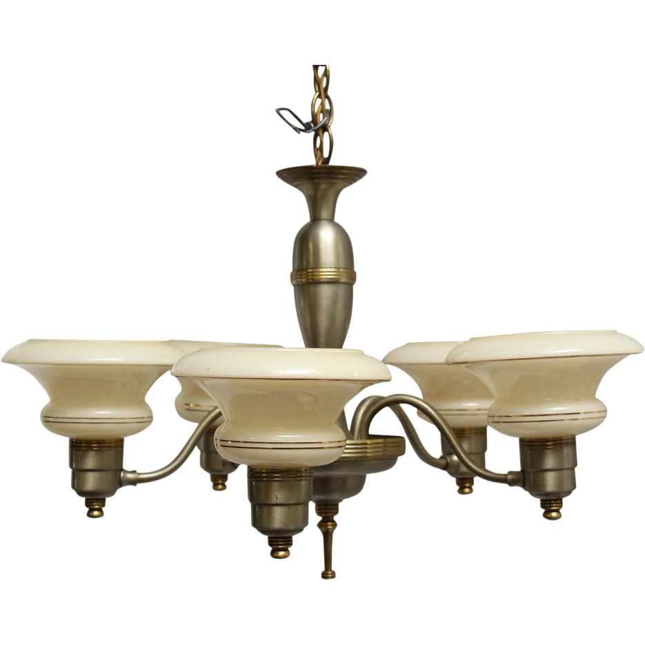 Deco light fixture with glass shades