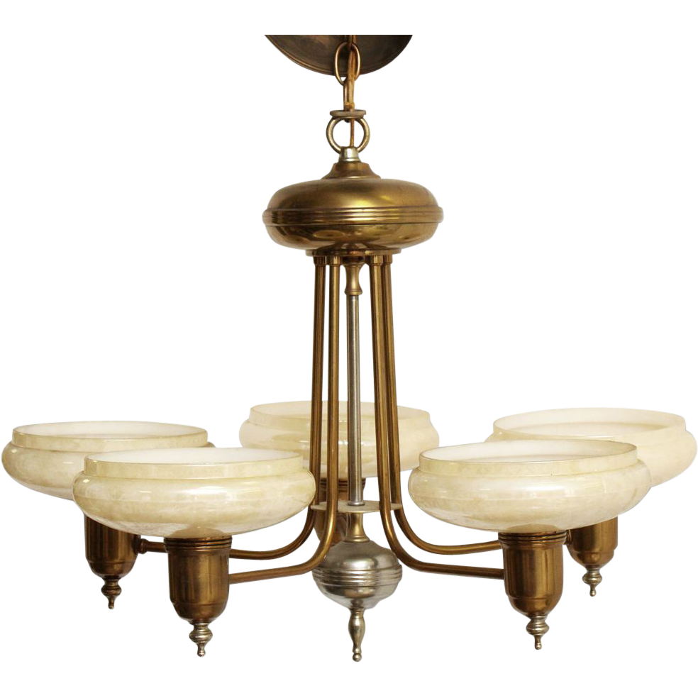 Deco light fixture with beige glass shades