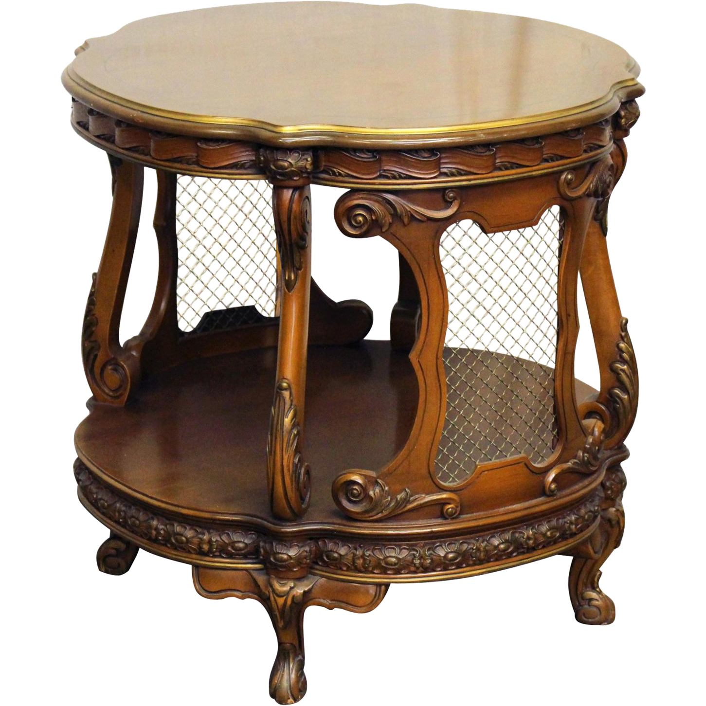 French carved side table with metal grids
