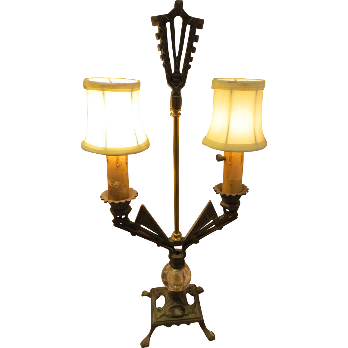 Iron Art Deco table 2 arm lamp
