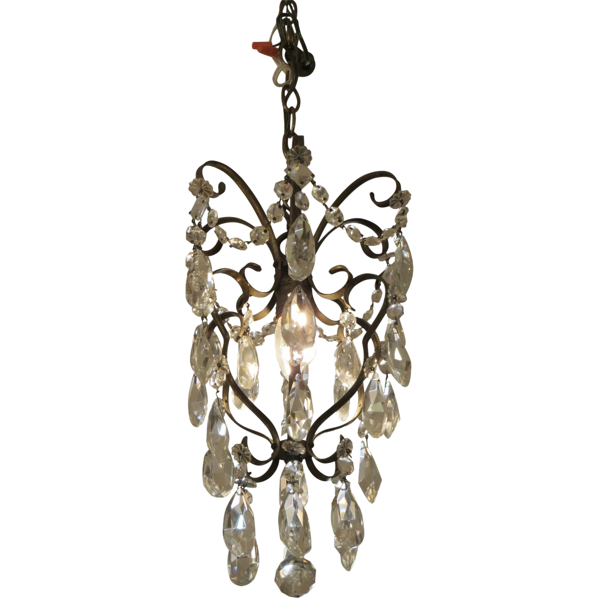 Petite brass & crystal chandelier