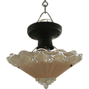 Pink scalloped edge  flush mount light