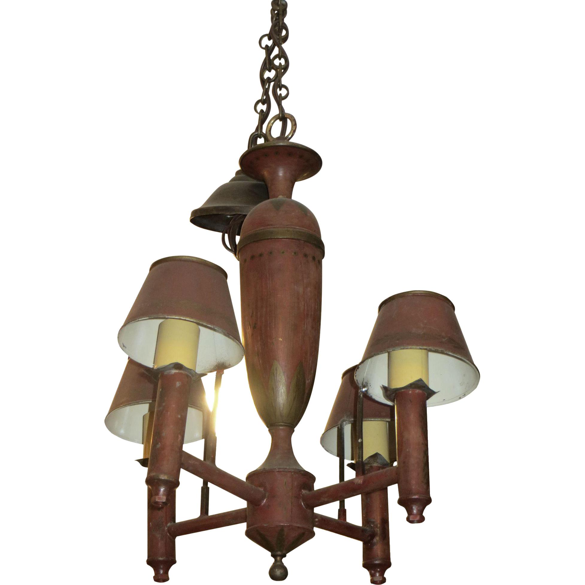 Red metal 4 arm metal chandelier