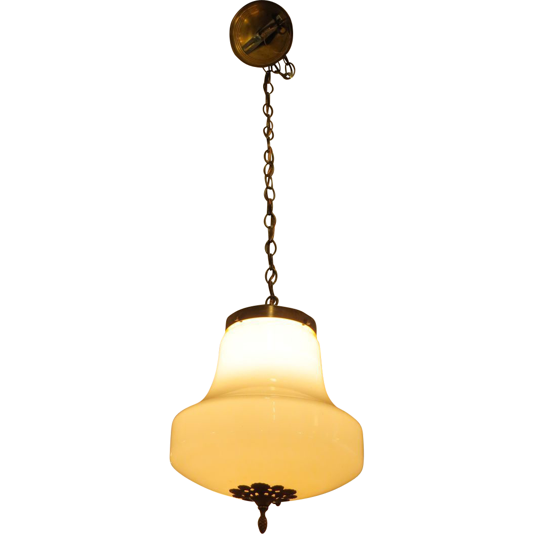 Brass base fixture with milk glass