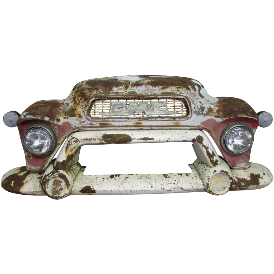 Worn GMC vintage car front