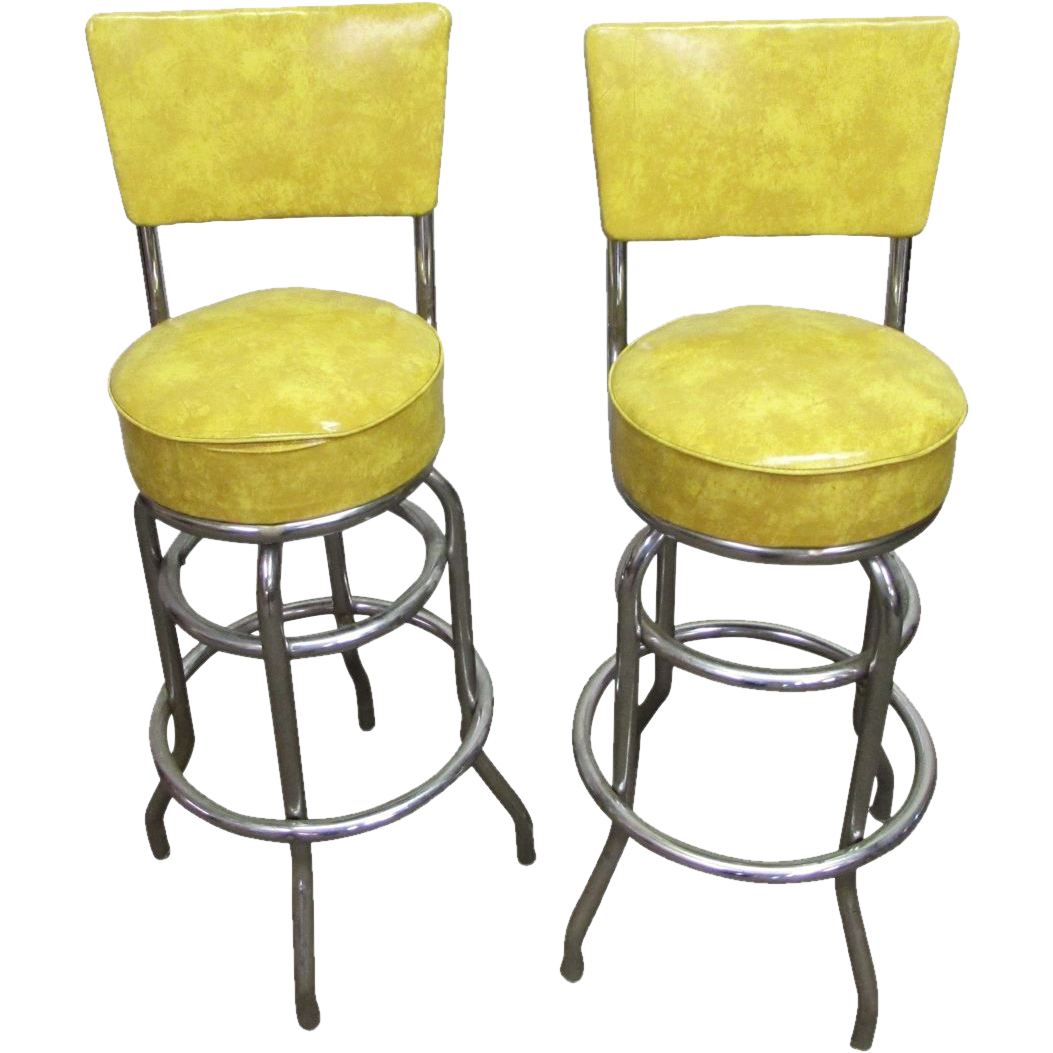 M. Deitz & Sons vintage yellow bar stools