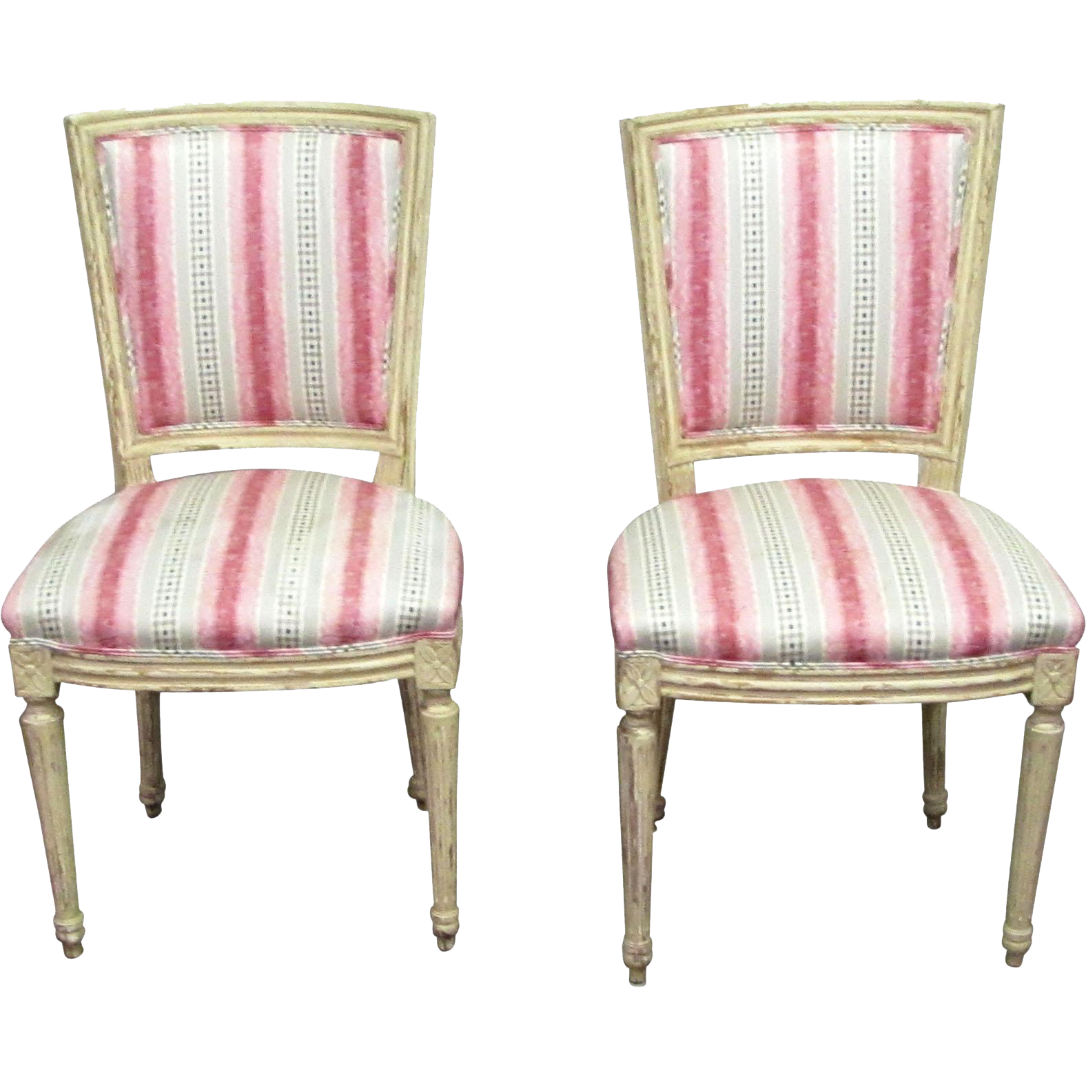 Set of vintage pink and blue upholstered chairs
