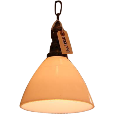 Milk glass light with brass pole