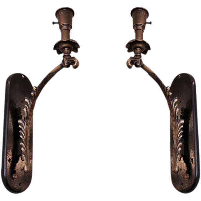 Brass feather sconces