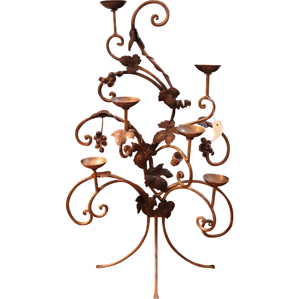 Cast iron grape motif candelabra