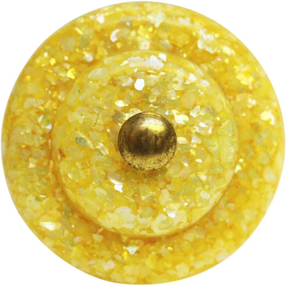 Single yellow mother of pearl in Lucite pull