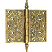 Highly ornate bronze hinges with steeple finials
