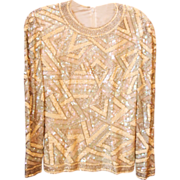 Vintage sequined geometric patterned top