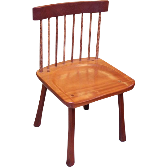Tiger oak chairs with red palm spindles