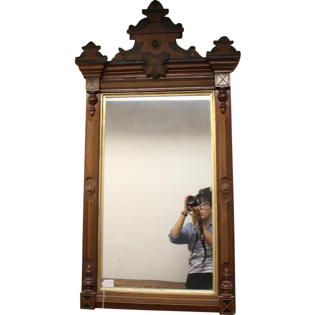 Black and gold carved wooden rectangle mirror