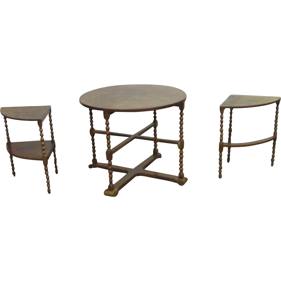 Turn of the century spindle leg table set