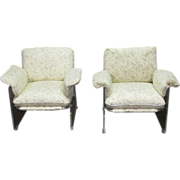 Mid Century Lucite chairs with upholstery