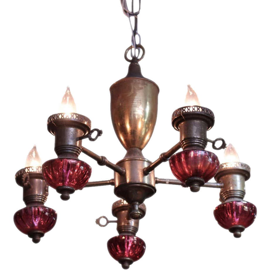 Red glass five light brass chandelier