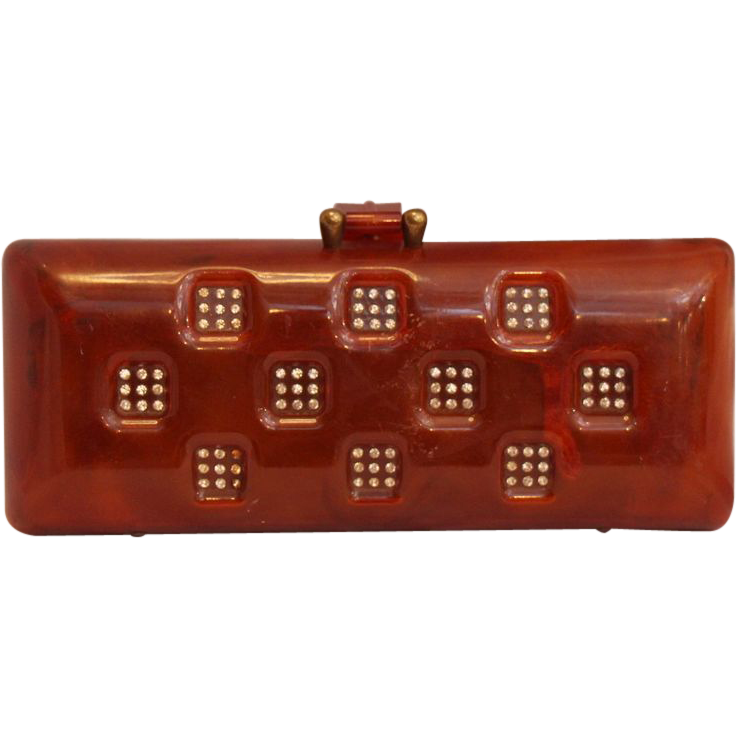 1920's Plastic clutch with brass hardware