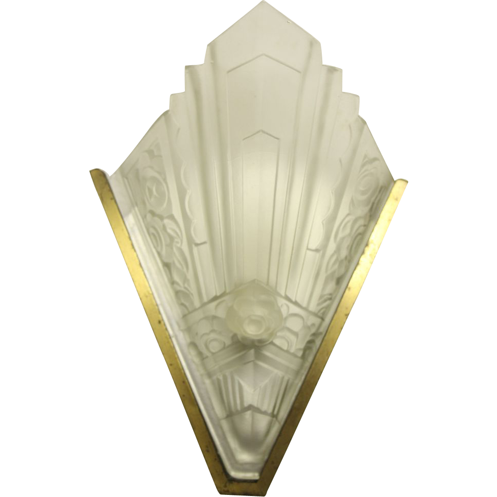 Art deco brass and frosted glass sconces