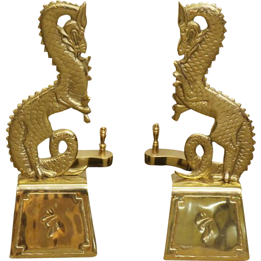Pair of brass dragon andirons