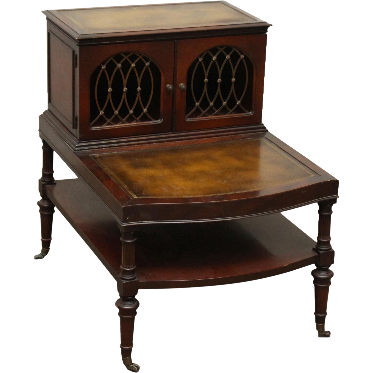 Turn of the century leather top side table and wire doors
