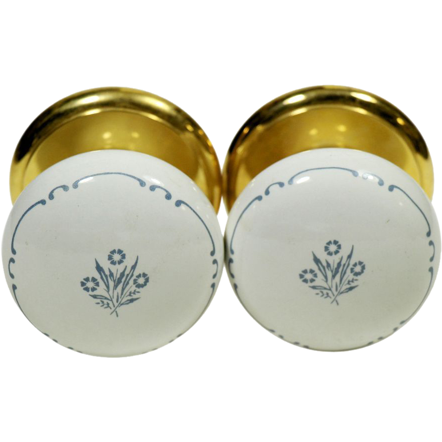 Pair of Gainsborough floral ceramic knobs
